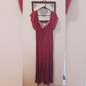 No Boundaries Red Floral Print Dress With Slit.